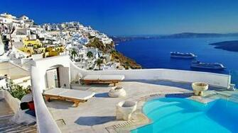 Santorini Luxury Hotels HD Wallpaper Background Images