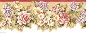 Red Burgundy Lavender Flower Floral Rose Laser Cut Wall paper Border