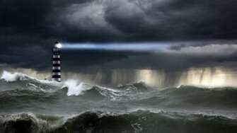 Download Lighthouse in the storm wallpaper