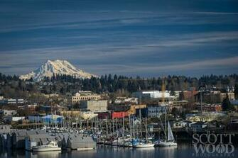 Downtown Olympia with Percival Landing in the foreground and Mt