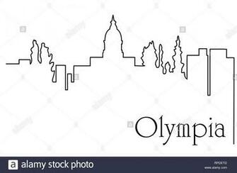 Olympia city one line drawing abstract background with cityscape