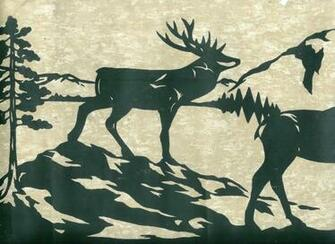Dark Green Deer Moose and Bear Silhouettes Wallpaper Border eBay