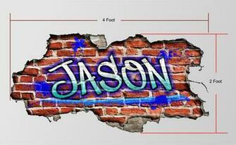 Custom Graffiti Name Personalized Brick Wall Art Bedroom Wallpaper