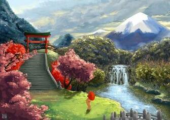 art landscape asia geisha umbrella sakura stairs gate