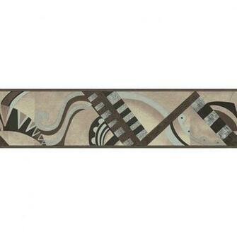 Neutral Geometric Scroll Prepasted Wallpaper Border at Lowescom