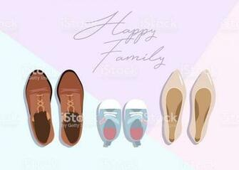 Family Concept Shoes For Parents And Child On Color Background