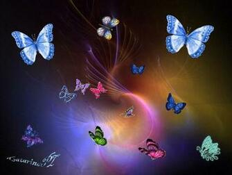 Fairies and Butterflies Background Colourful Butterflies