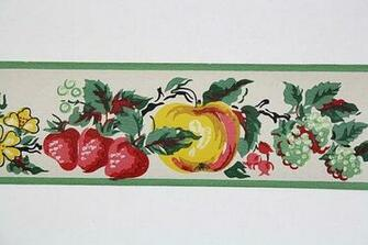 Full Vintage Wallpaper Border   TRIMZ   Kitchen Fruit   Pears Strawb