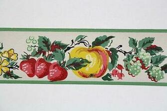 Full Vintage Wallpaper Border   TRIMZ   Kitchen Fruit   Pears Strawb