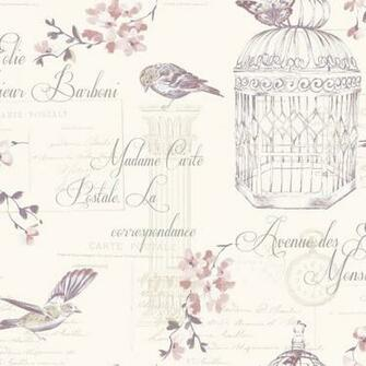 Dcor Aviary Birds Floral Motif French Typography Wallpaper 11318