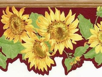 Die Cut Sun Flower Yellow Red Burgundy Wall Wallpaper Border eBay