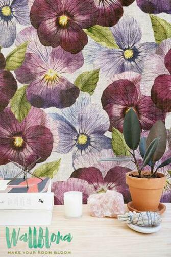 Purple Petunia Wallpaper Removable Wallpaper Self Adhesive