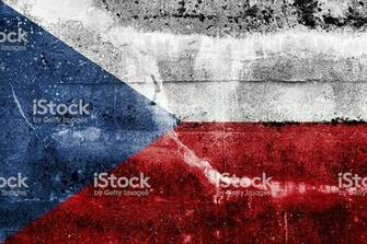 Czech Republic Flag On Old Grunge Wall Background Stock Photo