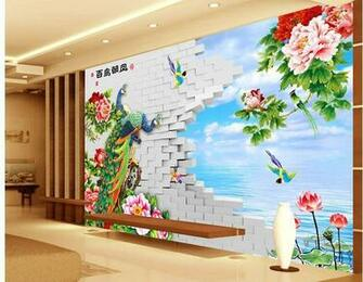 papel de parede Peony TV wall painted peony flower design 3d wallpaper