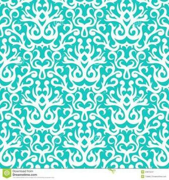 Damask Pattern In White On Turquoise Stock Image   Image 34875241