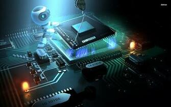 Download computer chip robot HD wallpaper