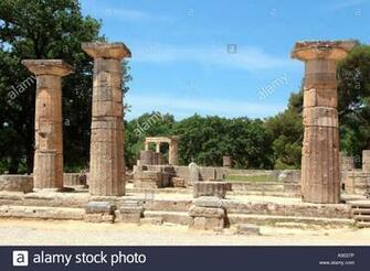 Temple of Hera Heraion at the sanctuary of Olympia with