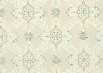 wallpaper blue and white geometirc with metallic gold accents on beige