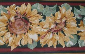 Sunflowers Green Wine Burgundy Stripe Wallpaper Border Flower eBay