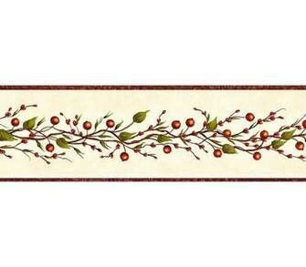 Burgundy Beige Berry Garland Wallpaper Wall Border