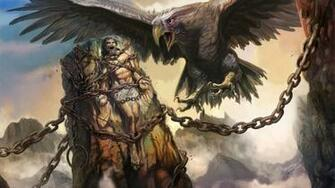 Rocks eagles fantasy art prometheus chains greek mythology wallpaper