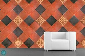 Removable Wallpaper  Tuscan Tile  Peel Stick Self Adhesive Fabric T
