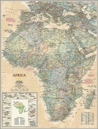 Executive Africa Map Wall Mural    Self Adhesive Wallpaper in Various