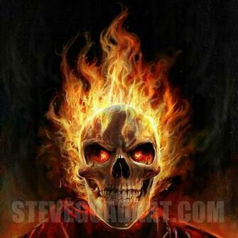 Flaming Skull Wallpaper Flaming skull by stevegoad