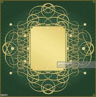 Metallic Gold And Emerald Green Background Design stock