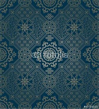 Oriental style wallpaper seamless pattern Stock image and royalty