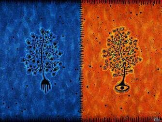 Wallpaper tree blue orange Blue and orange tree