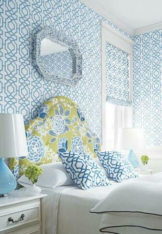Alston Trellis wallpaper and fabric Sulu fabric on headboard from
