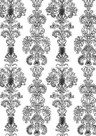 and white hand painted floral brocade wallpaper by Madeline Weinrib