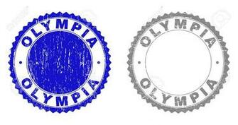 Grunge OLYMPIA Stamp Seals Isolated On A White Background Rosette