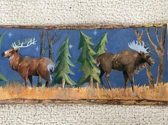 Rustic Moonlight Lodge Wallpaper Border with Bear Elk and Moose eBay