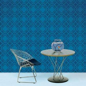 Quatrefoil BlueBlack Removable Wallpaper