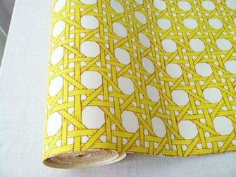 vintage 70s trellis yellow and white wallpaper per yard