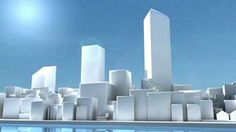 HD White 3D Cityscape Wallpaper