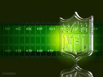 glass NFL football logo over a dark green football field background