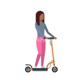 african girl riding electric kick scooter over white background