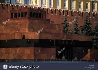 Moscow Lenin mausoleum on the red square Kremlin in the background