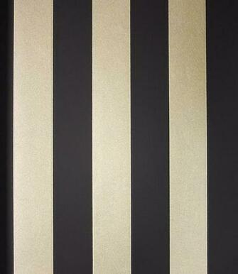 Stripe Wallpaper A matt black and mica gold wide striped wallpaper