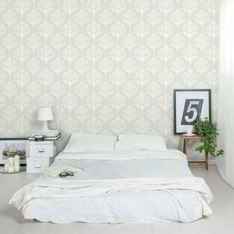 Damask Removable Wallpaper Tile Bedroom