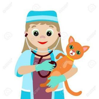 Vector Illustration Profession Cartoon Vet With A Sick Kitten