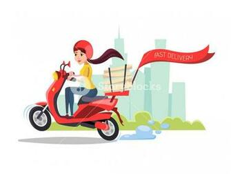cartoon girl riding scooter Delivery food pizza service poster