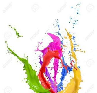 Colored Splashes In Abstract Shape Isolated On White Background