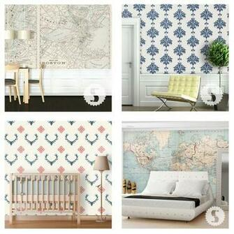 Swag Paper Removable Wallpaper Boston   Retro top left Ikat   Navy