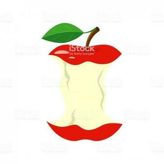 Red Apple Stub Vector Illustration Isolated On White Background