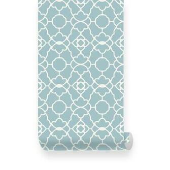 Small Trellis Pattern Dusky Blue Removable Wallpaper   Peel Stick
