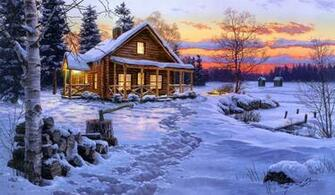Log Cabin Painting Wallpaper download   Download Log Cabin
